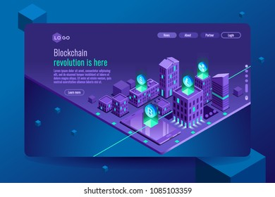 Blockchain crypto currency or cryptocurrency illustration, isometric background. Exchange virtual cash concept, financial isometric images collection.