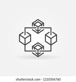 Blockchain crypto vector thin line icon or design element