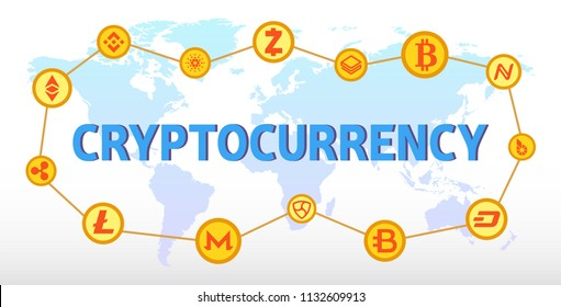Blockchain cryptocurrencies global network technology. Cryptocurrency vector illustration.