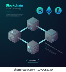 Blockchain Cryptocurrency Bitcoin Etherium Litecoin Technology Isometric flat vector illustration concept. Hi tech Block chain process data structure visualization.