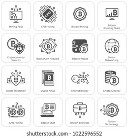 Blockchain Cryptocurrency Icons. Modern computer network technology sign set. Digital graphic symbol collection. Bitcoin mining and Security. Concept design elements.