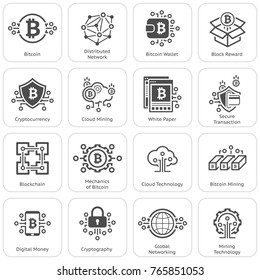 Blockchain Cryptocurrency Icons. Modern computer network technology sign set. Digital graphic symbol collection. Bitcoin mining. Concept design elements.