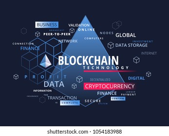 Blockchain cryptocurrency infographics - what is block chain technology cryptography business concept