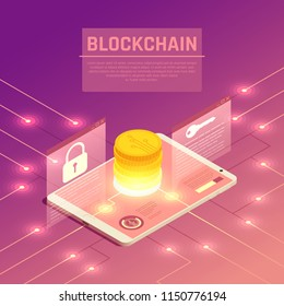 Blockchain cryptocurrency isometric composition with wired electrodes and tablet with stack of coins and lock signs vector illustration