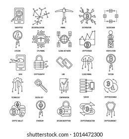 Blockchain and cryptocurrency mining vector icons in line style. Decentralized transaction system symbols. Cryptocurrency money, blockchain bitcoin system, transaction and currency vector illustration