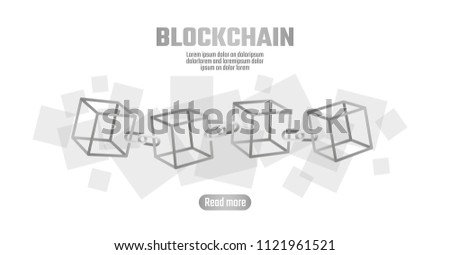 Blockchain Cube Chain Symbol On Square Stock Vector Royalty Free