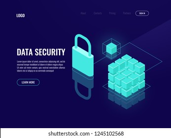 Blockchain data security, access token, shield protection isometric icon, denied access electronic key lock dark neon vector
