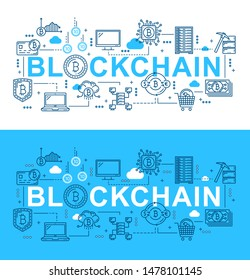 Blockchain digital technology and bitcoin cryptocurrency mining. Vector thin line block chain network, bit coin money wallet and crypto currency transaction security server, electronic finance system