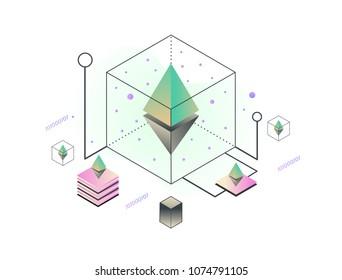Blockchain ethereum vector illustration