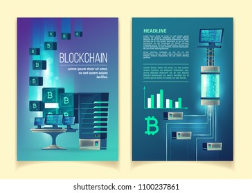 Blockchain, farm for mining bitcoins, modern internet technologies vector concept illustration. Template for brochure, leaflet with server equipment, computers, network, abstract blocks