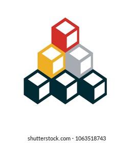 Blockchain Flat Design Business Icon