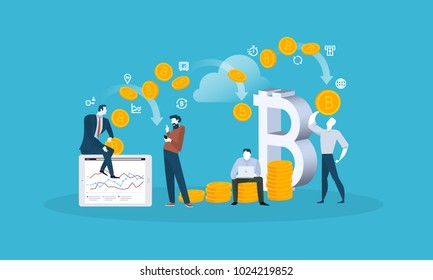 Blockchain. Flat design style web banner of blockchain technology, bitcoin, altcoins, cryptocurrency mining, finance, digital money market, cryptocoin wallet, crypto exchange.