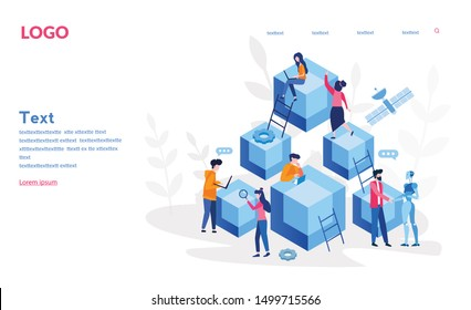 Blockchain, Hi tech Block chain process data structure visualization with business people. Future technologies, people and cubic blocks connected into chain vector illustration