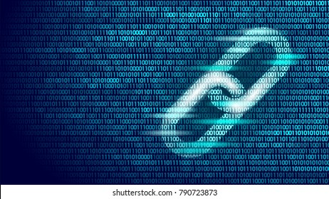 Blockchain hyperlink symbol on binary code number big data flow information. Cryptocurrency finance bitcoin business concept vector illustration background template