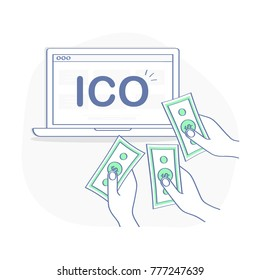 Blockchain ICO, Initial Coin Offering startup vector illustration. IT startup crowdfunding. Hands give money. Laptop with ICO sign. Outline vector illustration icon concept.