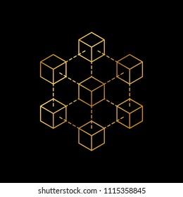 Blockchain icon logo concept on dark background. Cryptocurrency data sign design vector illustration