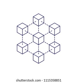 Blockchain icon logo concept on white background. Cryptocurrency data sign design vector illustration