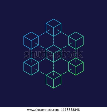 Blockchain icon logo concept on dark background. Cryptocurrency data sign design vector illustration