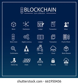 Blockchain icon set. information icon, analytics, cloud computing, blockchain, block, Distribution, Ledger, node, mining pool, Transaction icon