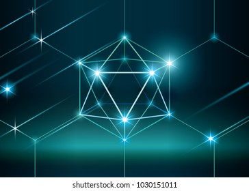 Blockchain illustration concept. 3D hexahedron with glow. Futuristic style background. Mysterious wallpaper with low polygonal sphere.