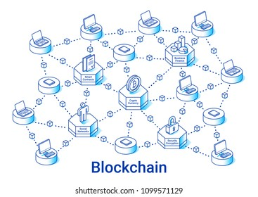 Blockchain illustration in linear isometric style. Minimal art line. Concept with cryptocurrency, smart contracts and security.