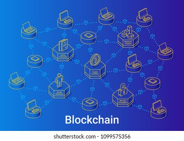 Blockchain illustration in linear isometric style on blue background. Minimal art line. Concept with cryptocurrency, smart contracts and security.