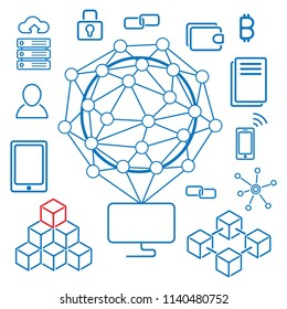 Blockchain infographics. The set of different blockchain elements in minimalistic style