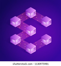 Blockchain isometric composition. Modern concept of digital technology