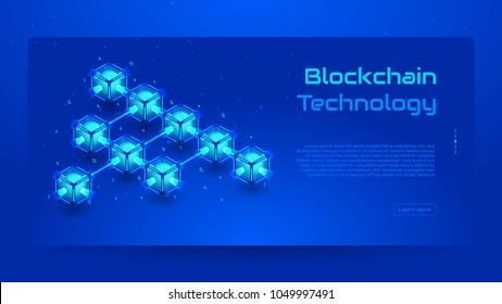 Blockchain isometric concept banner. Modern Concept of Digital Technology in the Shape of Block Chain net. Vector Illustration.