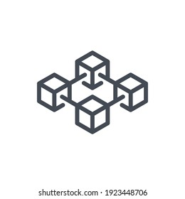 Blockchain line icon. Cryptocurrency blocks vector outline sign.