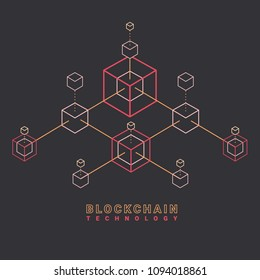 Blockchain line icon logo concept on dark background. Cryptocurrency data sign design. Abstract geometric block chain technology business sign concept vector illustration.