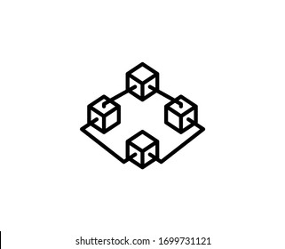 Blockchain line icon. Vector symbol in trendy flat style on white background. Web sing for design.