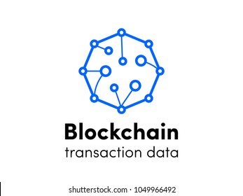 Blockchain logo. Cloud cryptocurrency service logo for bitcoin or etherium innovation technology. Vector icon of hexagon cloud servers network for cryptocurrency mining or corporation