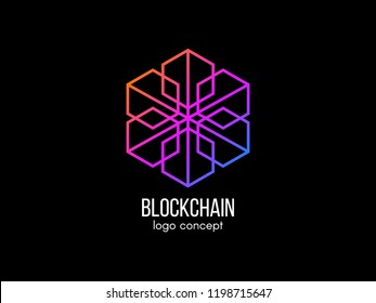 Blockchain logo concept. Modern technology design. Color cube logotype. Cryptocurrency and bitcoin label. Digital money icon. Vector illustration.