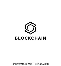 Blockchain Logo Template. Technology Vector Design. Cryptocurrency Illustration