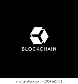 Blockchain Logo Template. Technology Vector Design. Cryptocurrency Illustration. Outstanding professional elegant trendy awesome artistic black and white color blockchain icon logo.