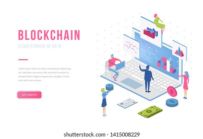 Blockchain modern flat design isometric landing page template. Cryptocurrency and people concept. Landing page template. Conceptual isometric vector illustration for web and graphic design