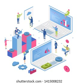 Blockchain modern flat design isometric concept. Cryptocurrency and people concept. Landing page template. Conceptual isometric vector illustration for web and graphic design