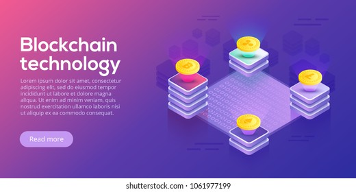 Blockchain network business layout. Cryptocurrency transfer isometric vector concept illustration. Digital crypto currency exchange or transaction process background. Online payment or mining process.