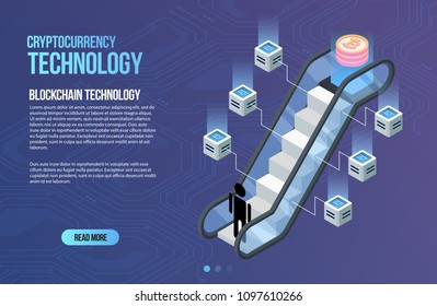 Blockchain network business template. Cryptocurrency and blockchain isometric composition. Mining Abstract Technology. Digital money system. Layout for web and app.