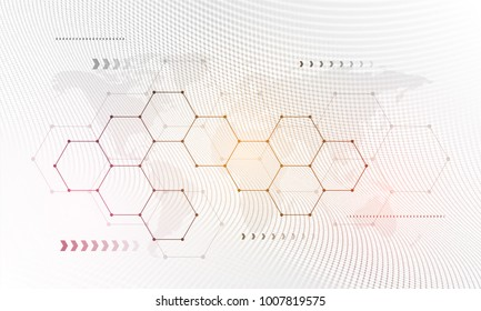 Blockchain network concept , Distributed ledger, computer connection technology, matrix coded background.
