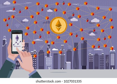 Blockchain network concept with Ethereum cryptocurrency. In the foreground hands with a mobile phone with the Ethereum icon.