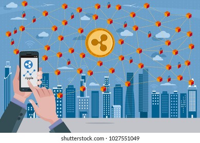 Blockchain network concept with Ripple cryptocurrency. In the foreground hands with a mobile phone with the ripple icon.