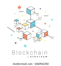 Blockchain network technology concept vector