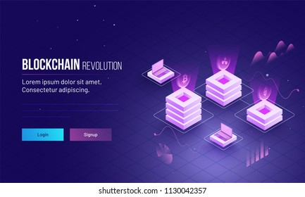 Blockchain revolution or cryptocurrency based isometric view of glowing block servers linked to each other for responsive landing page design.