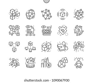 Blockchain revolution Well-crafted Pixel Perfect Vector Thin Line Icons 30 2x Grid for Web Graphics and Apps. Simple Minimal Pictogram