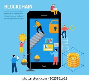 Blockchain scene with minimalistic people. Fintech industry, finance digitization concept design