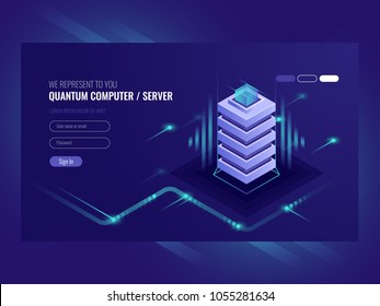Blockchain server concept, quantum computer, server room, database, information storage and processing isometric vector ultraviolet