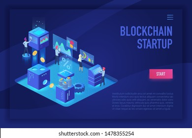 Blockchain startup team. Cryptocurrency and blockchain isometric ultraviolet light landing page vector template with people, analysts and managers vector illustration.