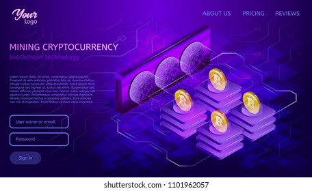 Blockchain system or technology. Mining process. Bitcoin cryptocurrency server farm. Isometric vector illustration in ultraviolet colors.